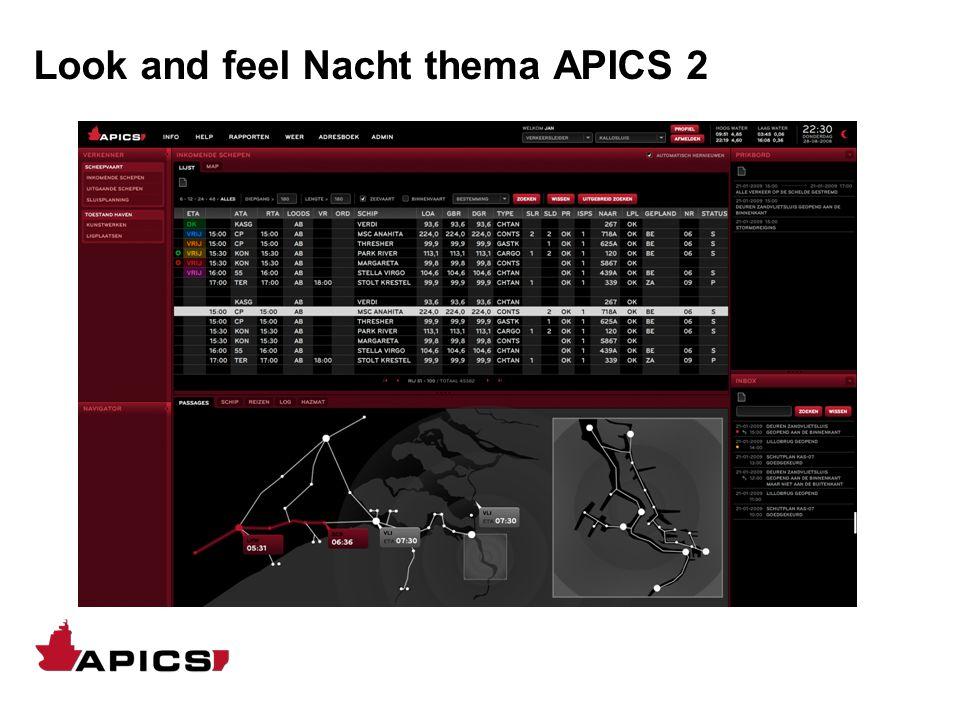 Look and feel Nacht thema APICS 2