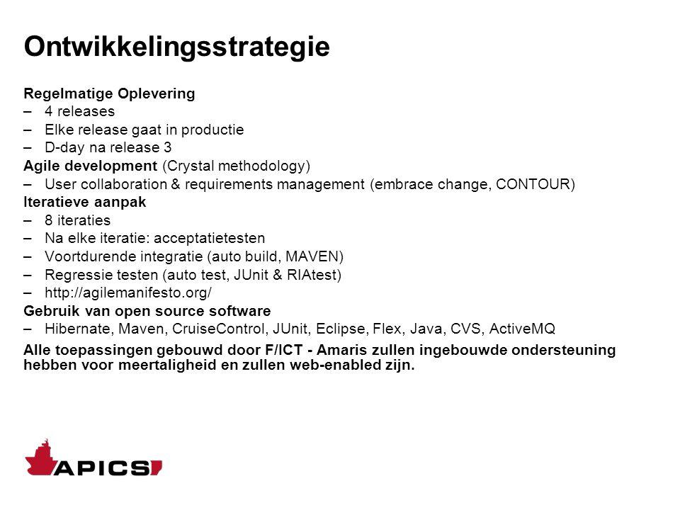 Ontwikkelingsstrategie Regelmatige Oplevering –4 releases –Elke release gaat in productie –D-day na release 3 Agile development (Crystal methodology)