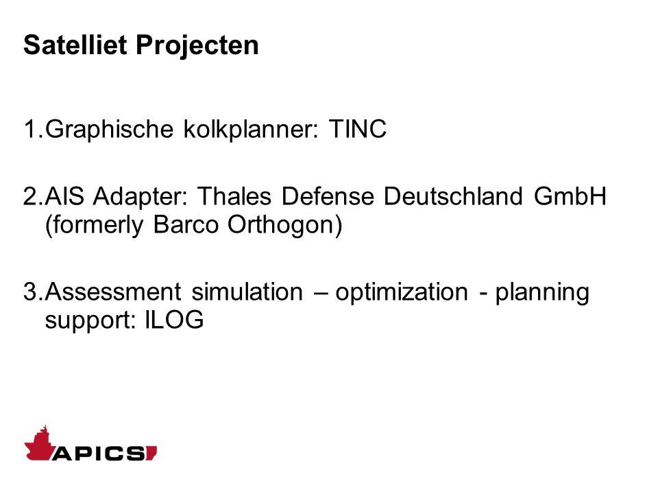 Satelliet Projecten 1.Graphische kolkplanner: TINC 2.AIS Adapter: Thales Defense Deutschland GmbH (formerly Barco Orthogon) 3.Assessment simulation –
