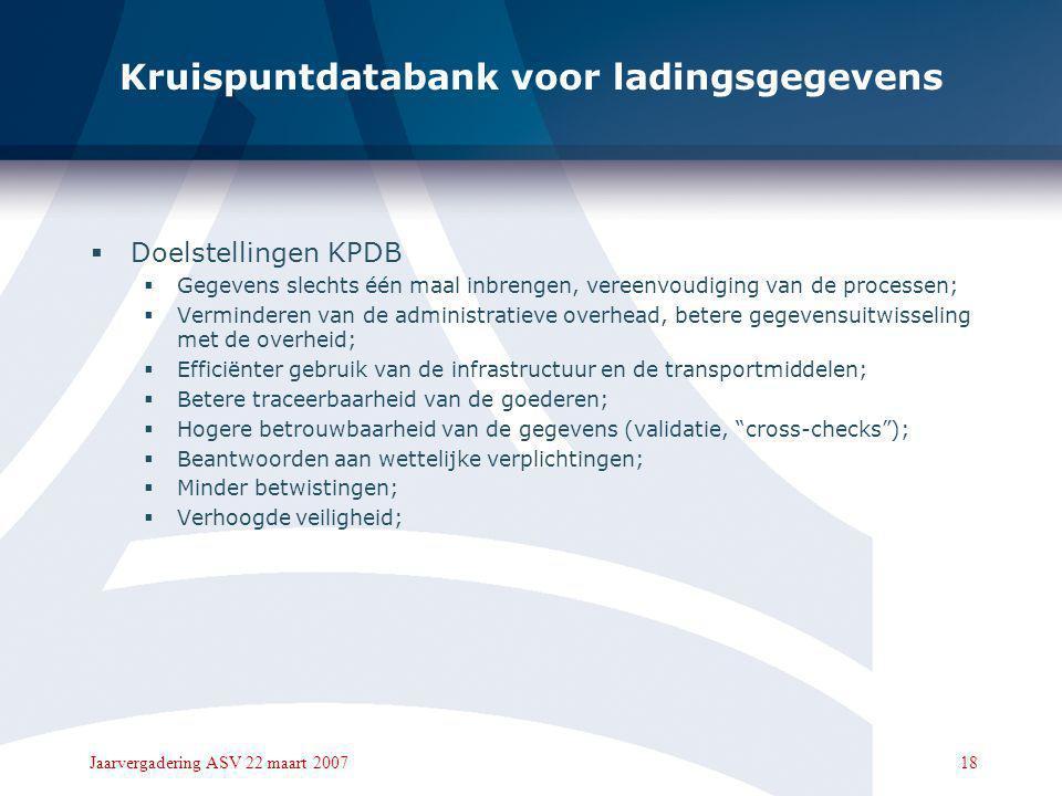 17Jaarvergadering ASV 22 maart 2007 Kruispuntdatabank voor ladingsgegevens  Overzicht KPDB  Doelstellingen;  Aanpak  Kritische succesfactoren;  R