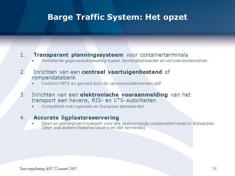 23Jaarvergadering ASV 22 maart 2007 Barge Traffic System: Voor wie ?  Vervoersondernemers van wie de lichters of duwkonvooien de Antwerpse containert