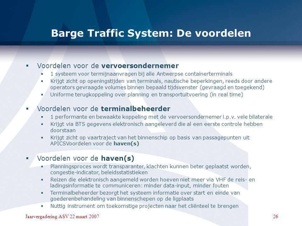 25Jaarvergadering ASV 22 maart 2007 Barge Traffic System: Het opzet 5. Vooraanmeldingen integreren met sluisplanning  Betere voorspelbaarheid van ETA