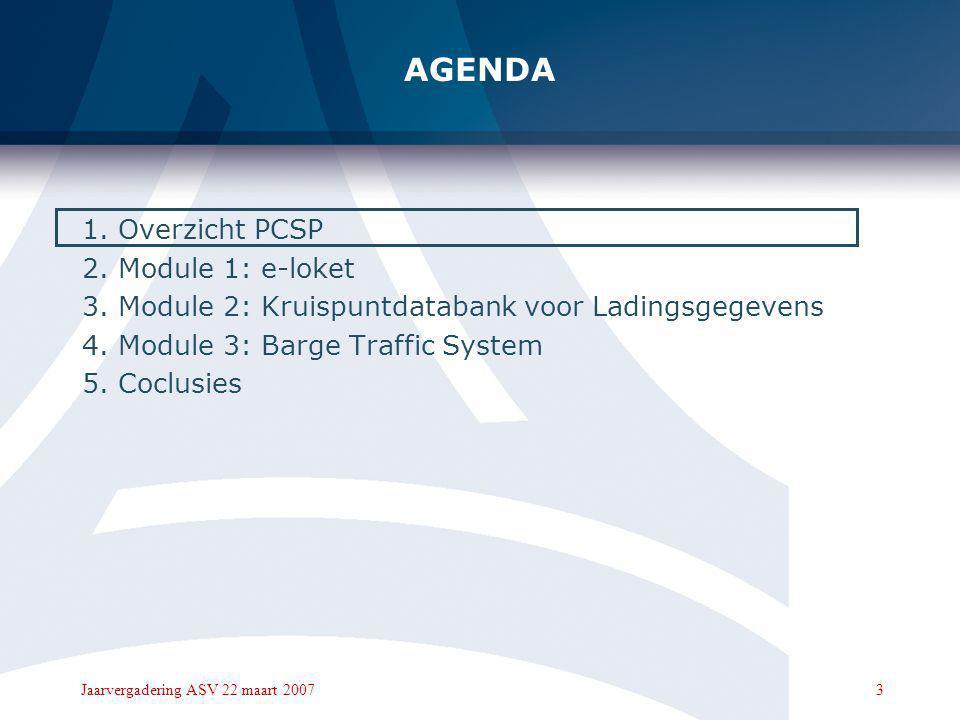 2Jaarvergadering ASV 22 maart 2007 AGENDA 1.Overzicht PCSP 2.Module 1: e-loket 3.Module 2: Kruispuntdatabank voor Ladingsgegevens 4.Module 3: Barge Tr