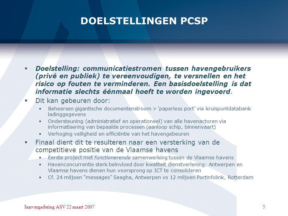 5Jaarvergadering ASV 22 maart 2007 DOELSTELLINGEN PCSP  Doelstelling: communicatiestromen tussen havengebruikers (privé en publiek) te vereenvoudigen, te versnellen en het risico op fouten te verminderen.