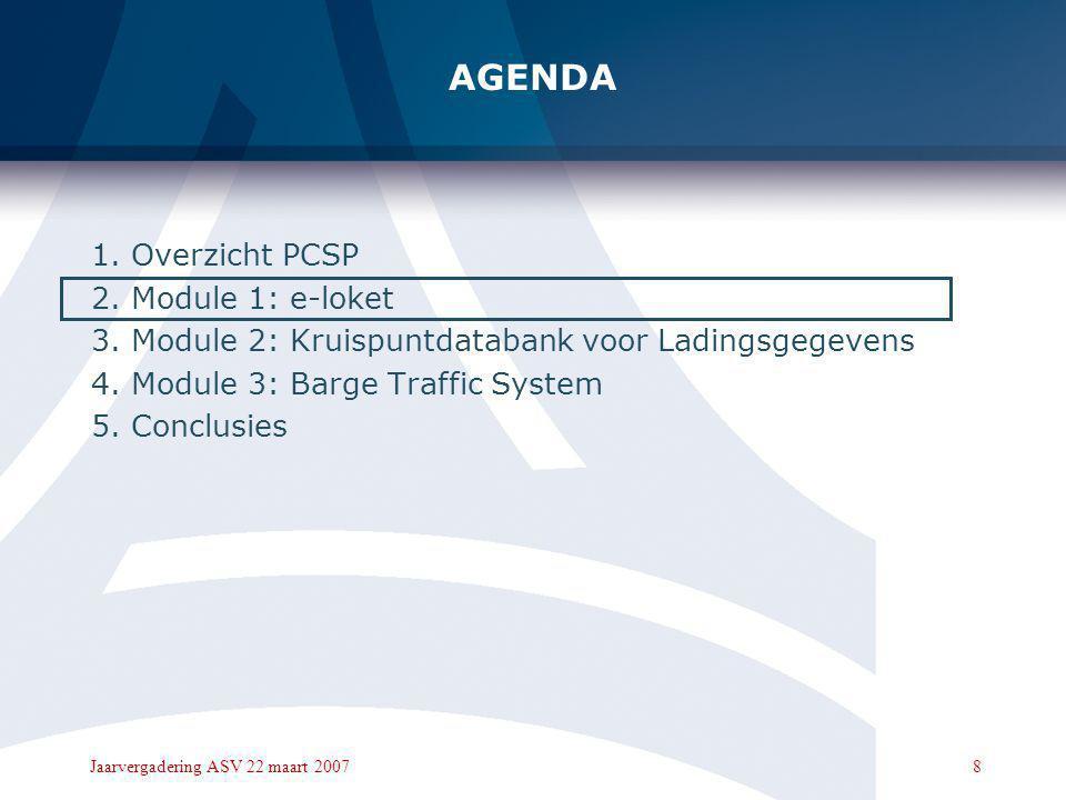 8Jaarvergadering ASV 22 maart 2007 AGENDA 1.Overzicht PCSP 2.Module 1: e-loket 3.Module 2: Kruispuntdatabank voor Ladingsgegevens 4.Module 3: Barge Traffic System 5.Conclusies