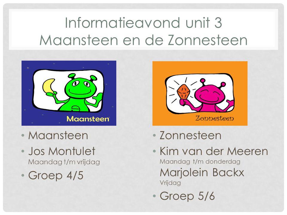 Zonnesteen Kim van der Meeren Maandag t/m donderdag Marjolein Backx Vrijdag Groep 5/6 Maansteen Jos Montulet Maandag t/m vrijdag Groep 4/5 Informatiea