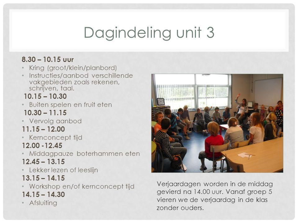 Dagindeling unit 3 8.30 – 10.15 uur Kring (groot/klein/planbord) Instructies/aanbod verschillende vakgebieden zoals rekenen, schrijven, taal. 10.15 –