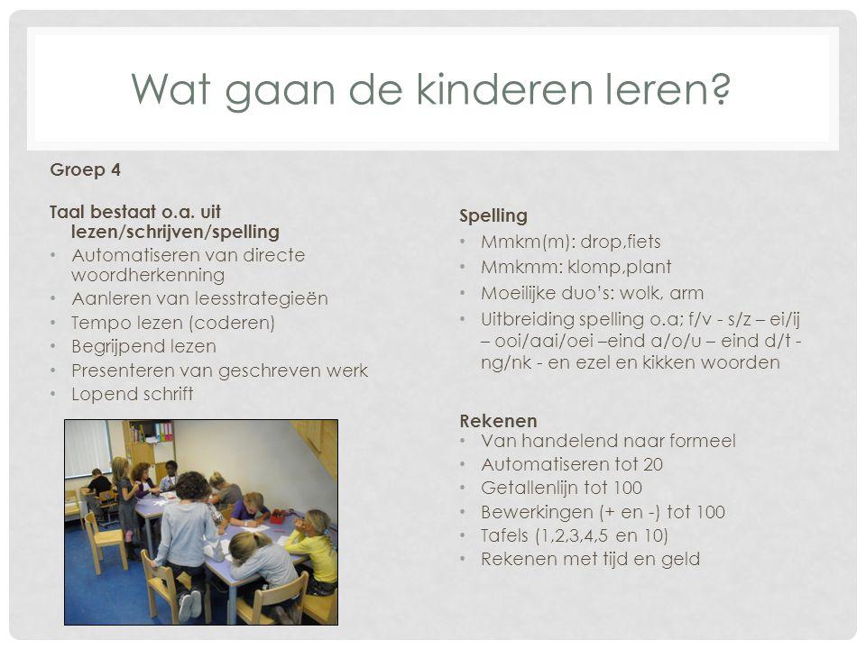 Wat gaan de kinderen leren? Groep 4 Taal bestaat o.a. uit lezen/schrijven/spelling Automatiseren van directe woordherkenning Aanleren van leesstrategi