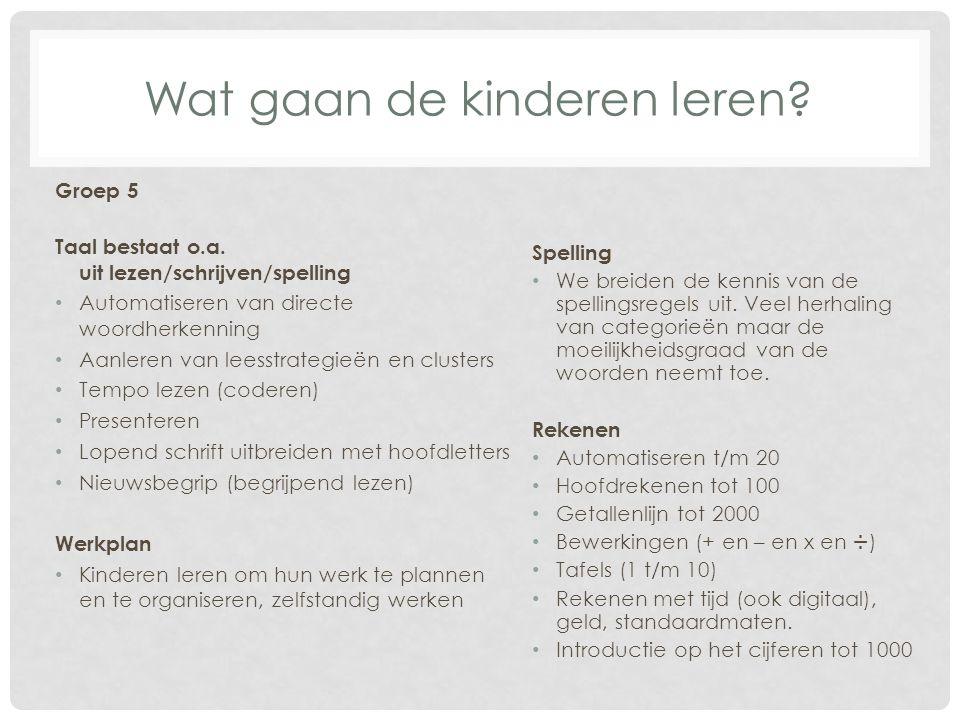 Wat gaan de kinderen leren? Groep 5 Taal bestaat o.a. uit lezen/schrijven/spelling Automatiseren van directe woordherkenning Aanleren van leesstrategi
