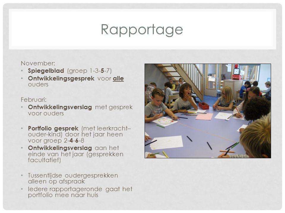 November: Spiegelblad (groep 1-3- 5 -7) Ontwikkelingsgesprek voor alle ouders Februari: Ontwikkelingsverslag met gesprek voor ouders Portfolio gesprek