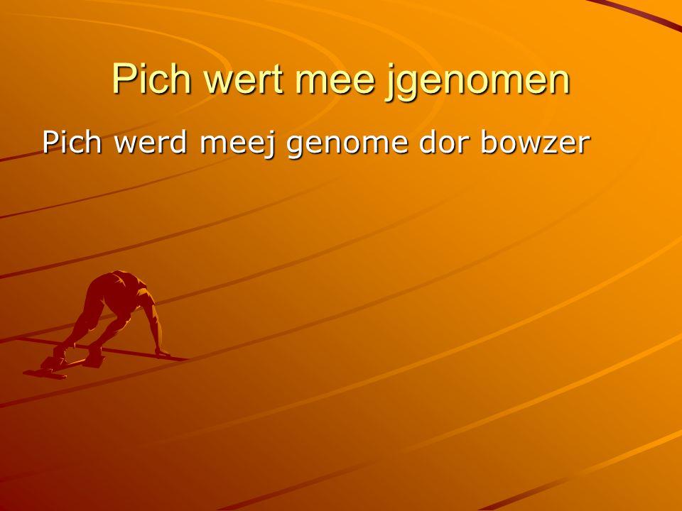 Pich wert mee jgenomen Pich werd meej genome dor bowzer