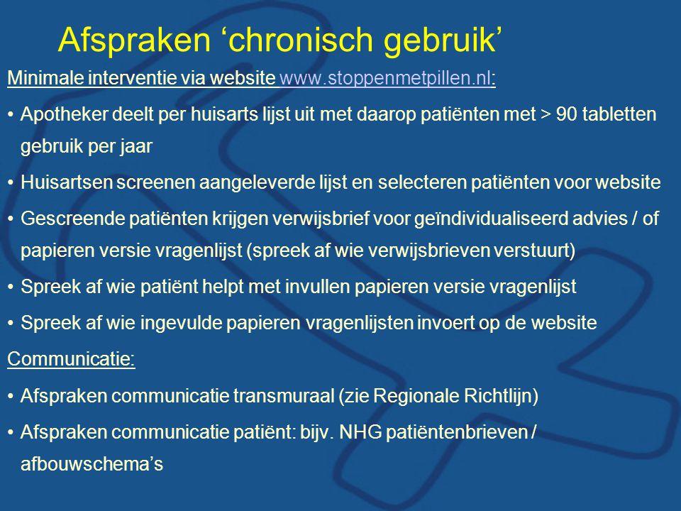 Afspraken 'chronisch gebruik' Minimale interventie via website www.stoppenmetpillen.nl:www.stoppenmetpillen.nl Apotheker deelt per huisarts lijst uit