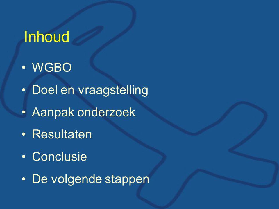 Inhoud WGBO Doel en vraagstelling Aanpak onderzoek Resultaten Conclusie De volgende stappen
