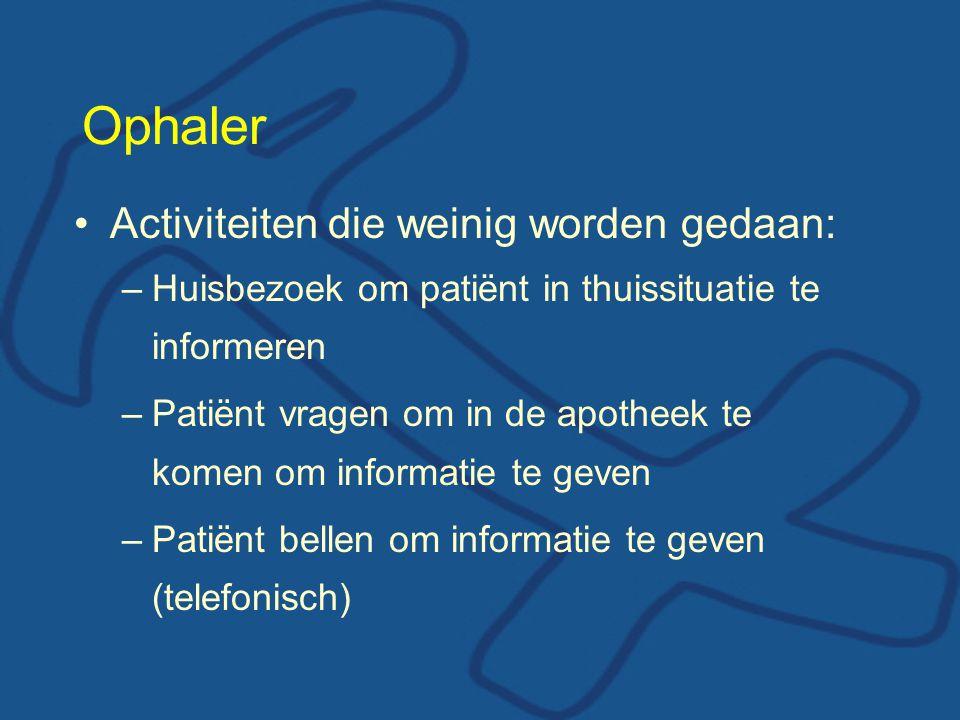 Ophaler Activiteiten die weinig worden gedaan: –Huisbezoek om patiënt in thuissituatie te informeren –Patiënt vragen om in de apotheek te komen om informatie te geven –Patiënt bellen om informatie te geven (telefonisch)