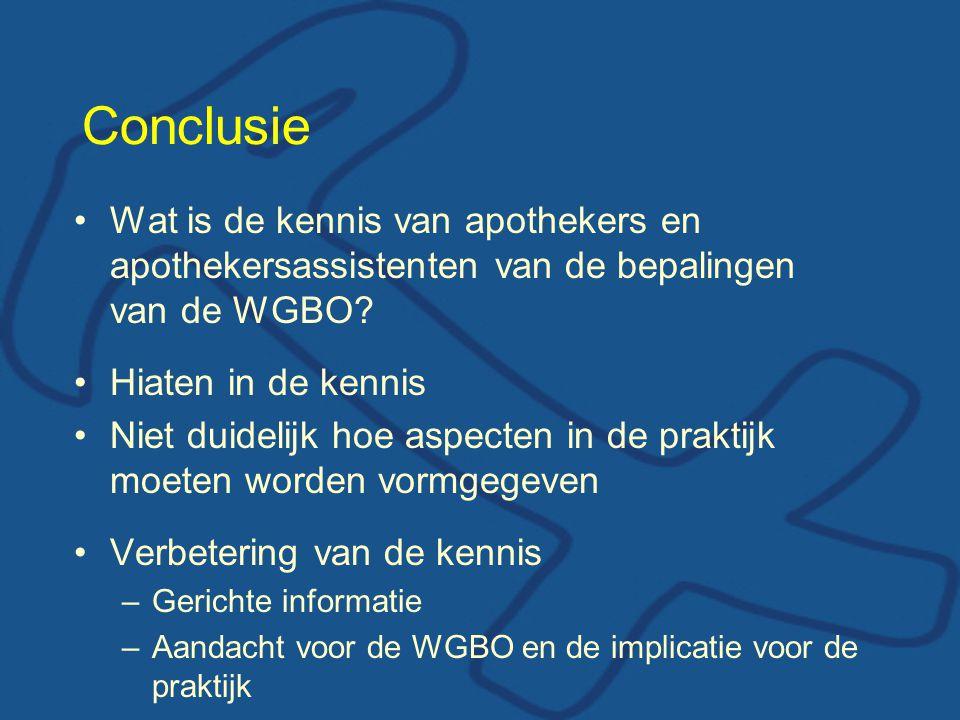 Conclusie Wat is de kennis van apothekers en apothekersassistenten van de bepalingen van de WGBO? Hiaten in de kennis Niet duidelijk hoe aspecten in d