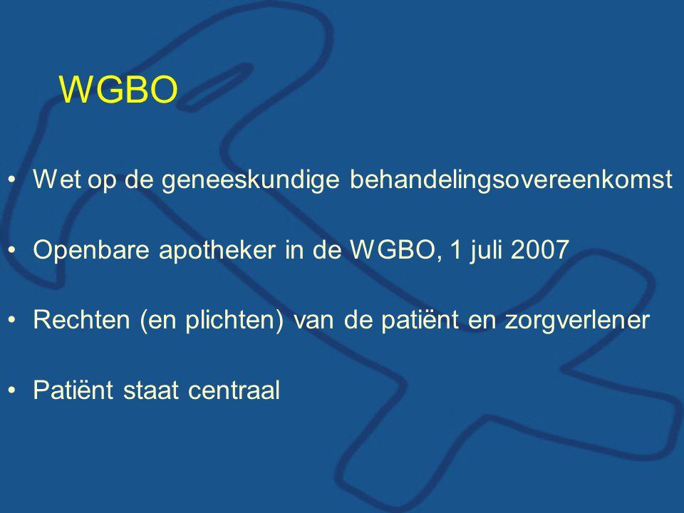 WGBO Kernaspecten: –Informatie en toestemming –Dossier en bewaartermijn –Toegang tot patiëntgegevens Modelregeling openbare apotheker – patiënt