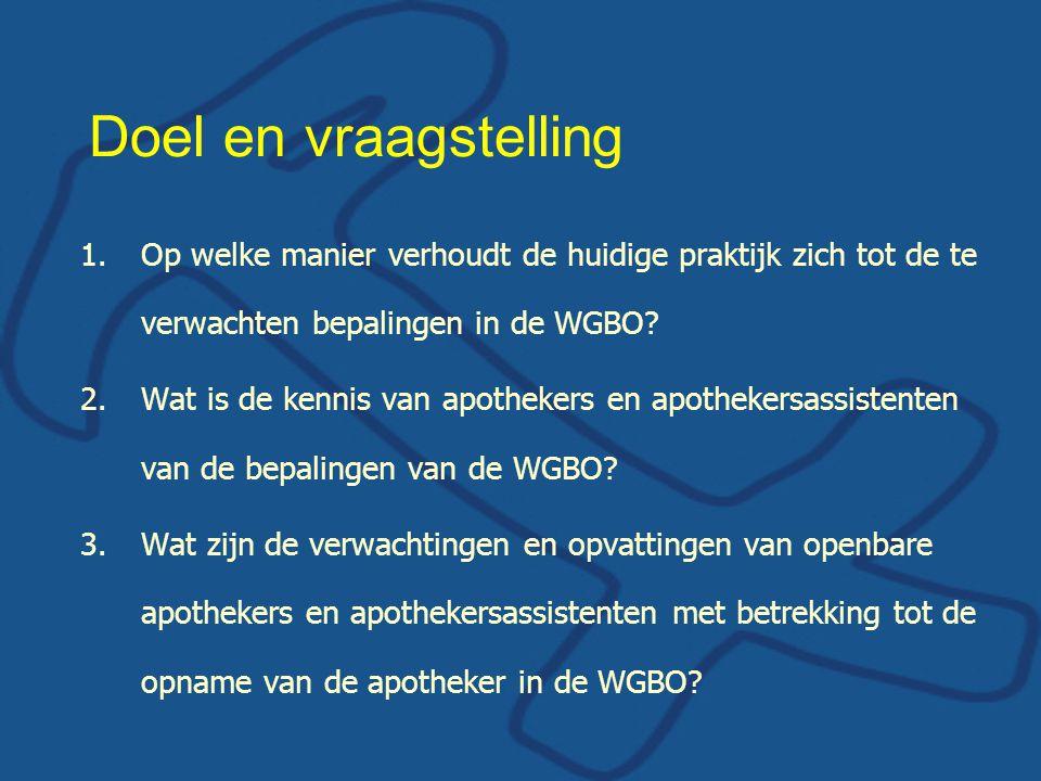Doel en vraagstelling 1.Op welke manier verhoudt de huidige praktijk zich tot de te verwachten bepalingen in de WGBO.