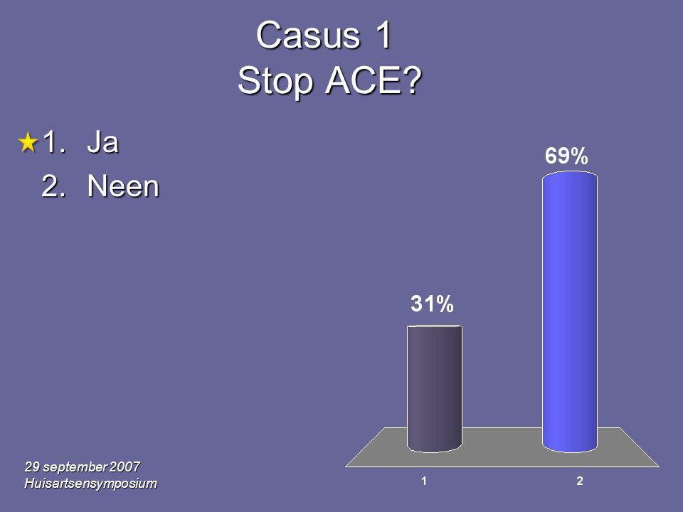 29 september 2007 Huisartsensymposium Casus 1 Stop ACE? 1.Ja 2.Neen