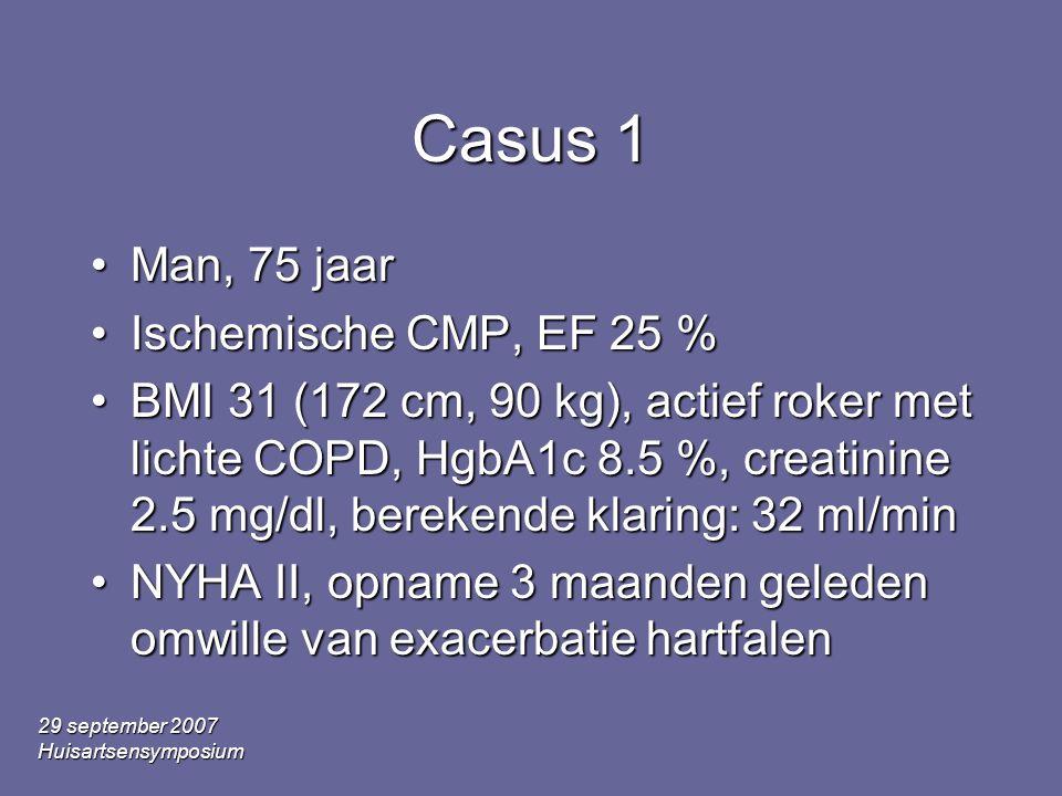 29 september 2007 Huisartsensymposium Casus 1 Man, 75 jaarMan, 75 jaar Ischemische CMP, EF 25 %Ischemische CMP, EF 25 % BMI 31 (172 cm, 90 kg), actief roker met lichte COPD, HgbA1c 8.5 %, creatinine 2.5 mg/dl, berekende klaring: 32 ml/minBMI 31 (172 cm, 90 kg), actief roker met lichte COPD, HgbA1c 8.5 %, creatinine 2.5 mg/dl, berekende klaring: 32 ml/min NYHA II, opname 3 maanden geleden omwille van exacerbatie hartfalenNYHA II, opname 3 maanden geleden omwille van exacerbatie hartfalen