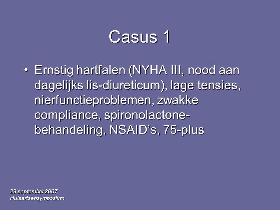 29 september 2007 Huisartsensymposium Casus 1 Ernstig hartfalen (NYHA III, nood aan dagelijks lis-diureticum), lage tensies, nierfunctieproblemen, zwakke compliance, spironolactone- behandeling, NSAID's, 75-plusErnstig hartfalen (NYHA III, nood aan dagelijks lis-diureticum), lage tensies, nierfunctieproblemen, zwakke compliance, spironolactone- behandeling, NSAID's, 75-plus