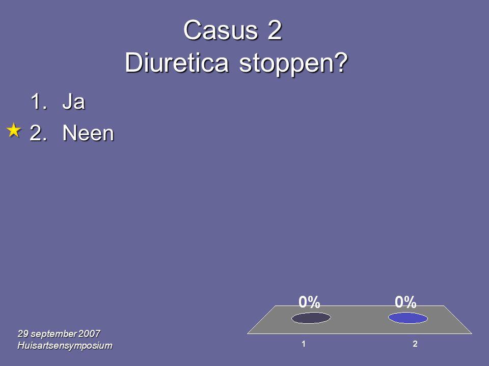 29 september 2007 Huisartsensymposium Casus 2 Diuretica stoppen? 1.Ja 2.Neen