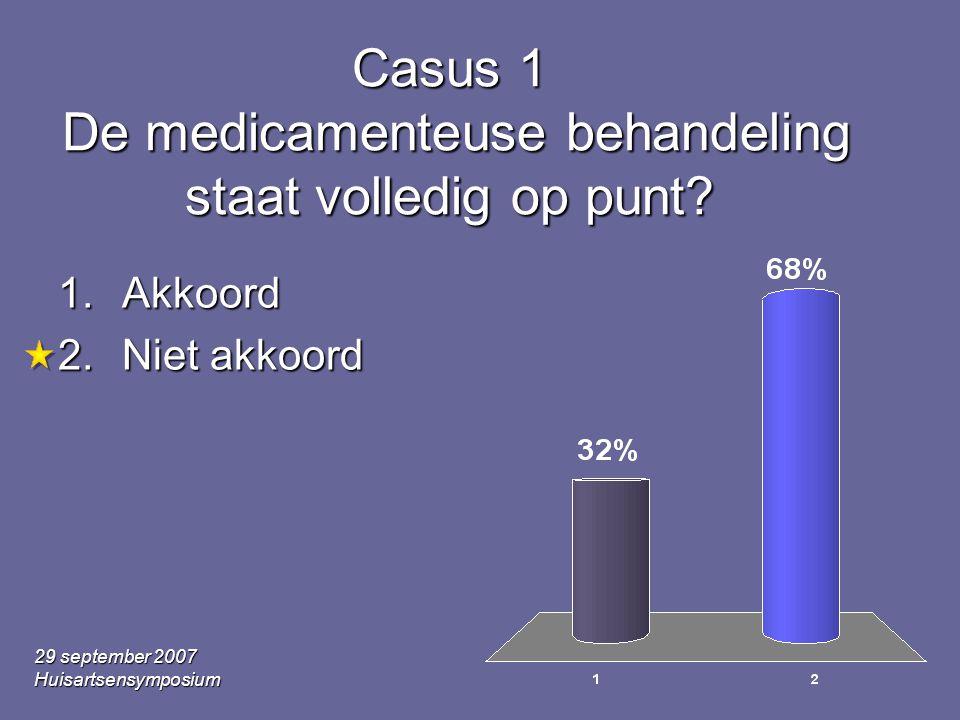 29 september 2007 Huisartsensymposium Casus 1 De medicamenteuse behandeling staat volledig op punt.