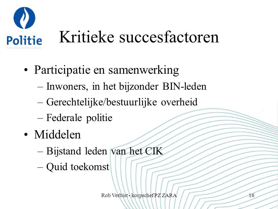 Kritieke succesfactoren Participatie en samenwerking –Inwoners, in het bijzonder BIN-leden –Gerechtelijke/bestuurlijke overheid –Federale politie Midd
