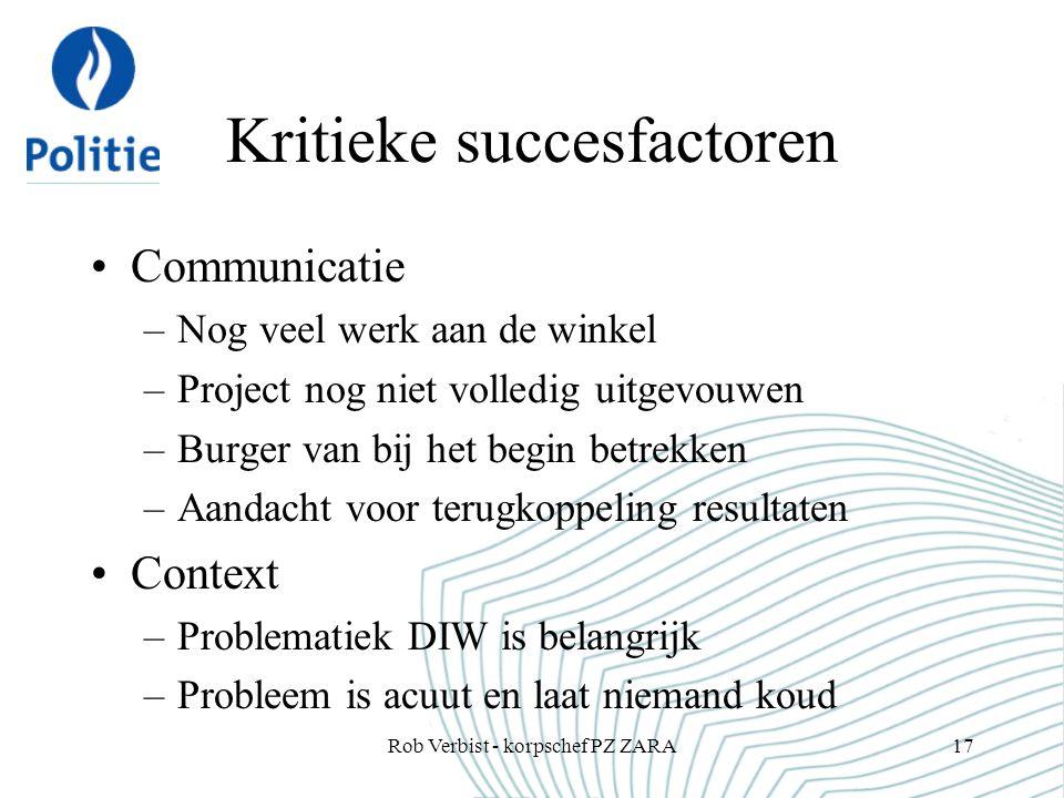 Kritieke succesfactoren Communicatie –Nog veel werk aan de winkel –Project nog niet volledig uitgevouwen –Burger van bij het begin betrekken –Aandacht