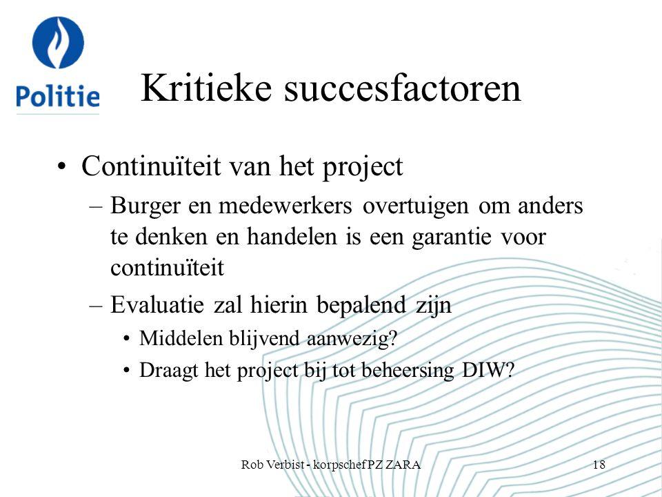Kritieke succesfactoren Continuïteit van het project –Burger en medewerkers overtuigen om anders te denken en handelen is een garantie voor continuïteit –Evaluatie zal hierin bepalend zijn Middelen blijvend aanwezig.