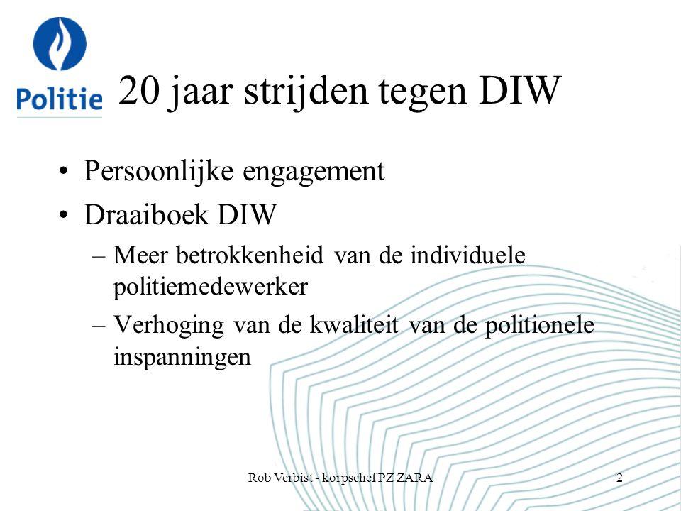 20 jaar strijden tegen DIW Persoonlijke engagement Draaiboek DIW –Meer betrokkenheid van de individuele politiemedewerker –Verhoging van de kwaliteit