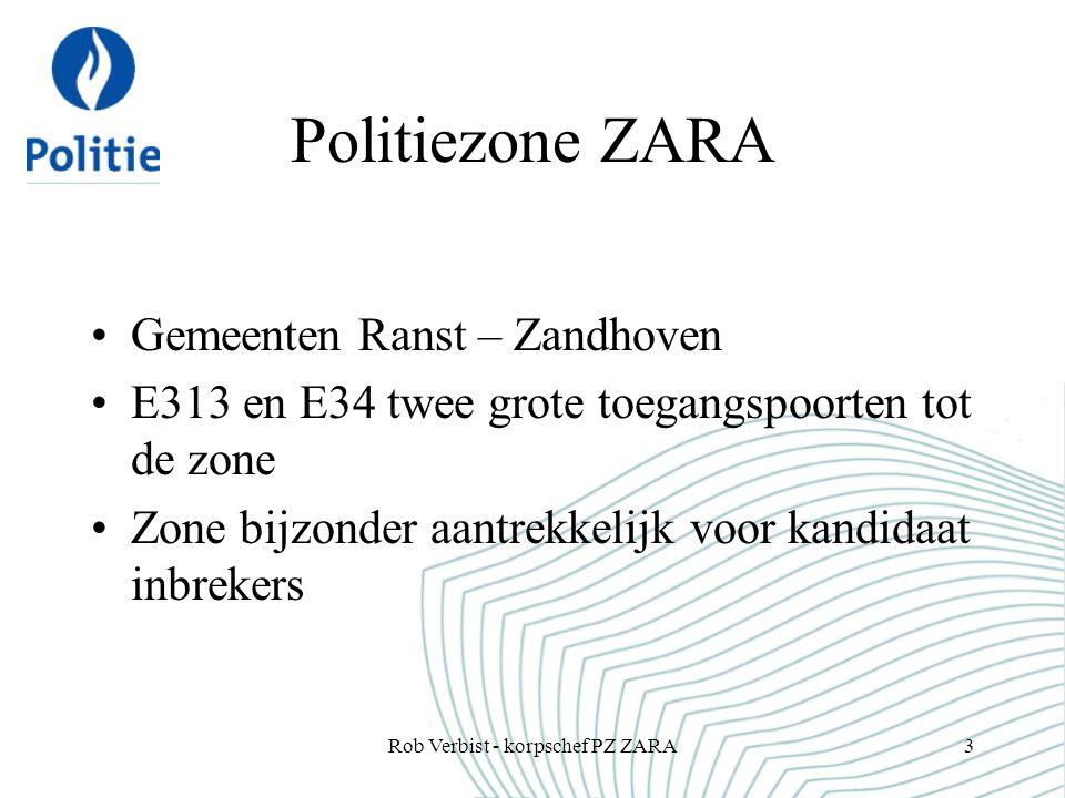 Project ZARA Politionele acties aankondigen aan de BIN- leden BIN-communicatiesysteem als platform om informatie te verstrekken Uitbreiding naar sociale media onvermijdelijk Rob Verbist - korpschef PZ ZARA14
