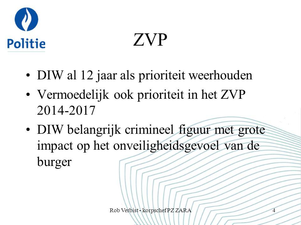 ZVP DIW al 12 jaar als prioriteit weerhouden Vermoedelijk ook prioriteit in het ZVP 2014-2017 DIW belangrijk crimineel figuur met grote impact op het onveiligheidsgevoel van de burger Rob Verbist - korpschef PZ ZARA4