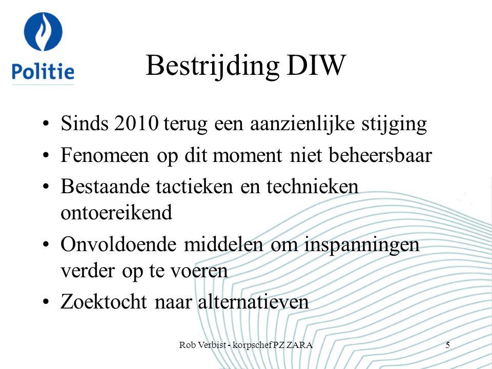 Bestrijding DIW Sinds 2010 terug een aanzienlijke stijging Fenomeen op dit moment niet beheersbaar Bestaande tactieken en technieken ontoereikend Onvo
