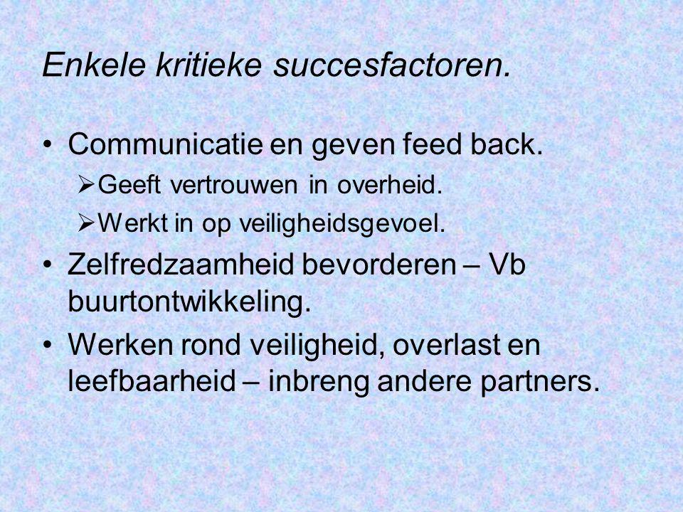 Enkele kritieke succesfactoren. Communicatie en geven feed back.  Geeft vertrouwen in overheid.  Werkt in op veiligheidsgevoel. Zelfredzaamheid bevo