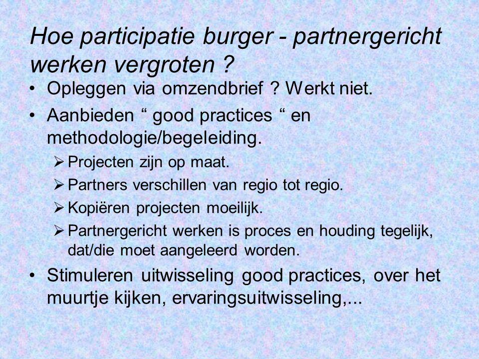 """Hoe participatie burger - partnergericht werken vergroten ? Opleggen via omzendbrief ? Werkt niet. Aanbieden """" good practices """" en methodologie/begele"""
