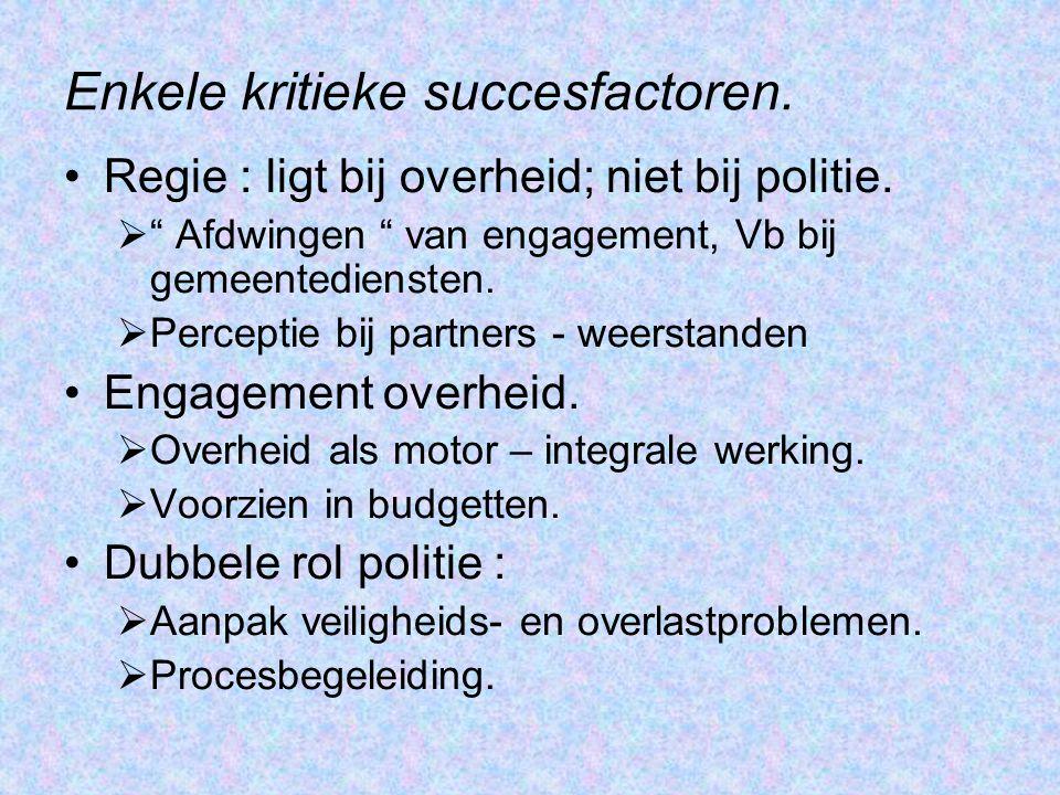 Enkele kritieke succesfactoren.Regie : ligt bij overheid; niet bij politie.