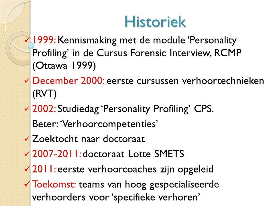 Historiek 1999: Kennismaking met de module 'Personality Profiling' in de Cursus Forensic Interview, RCMP (Ottawa 1999) December 2000: eerste cursussen verhoortechnieken (RVT) 2002: Studiedag 'Personality Profiling' CPS.