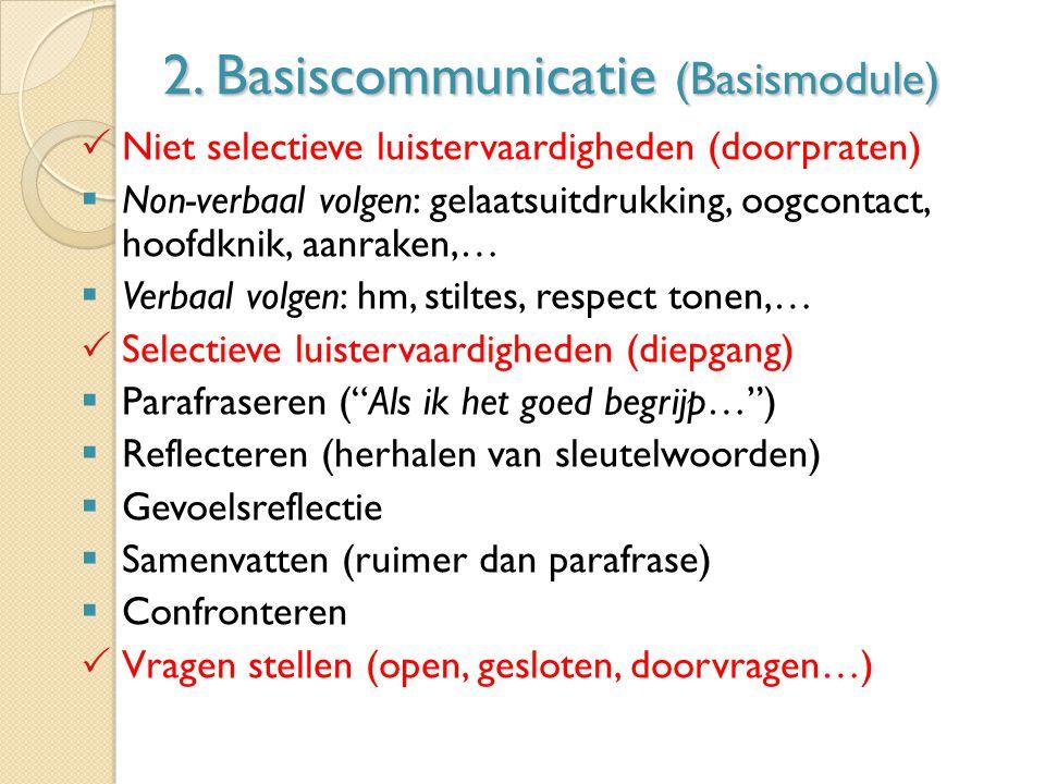 2. Basiscommunicatie (Basismodule)  Niet selectieve luistervaardigheden (doorpraten)  Non-verbaal volgen: gelaatsuitdrukking, oogcontact, hoofdknik,