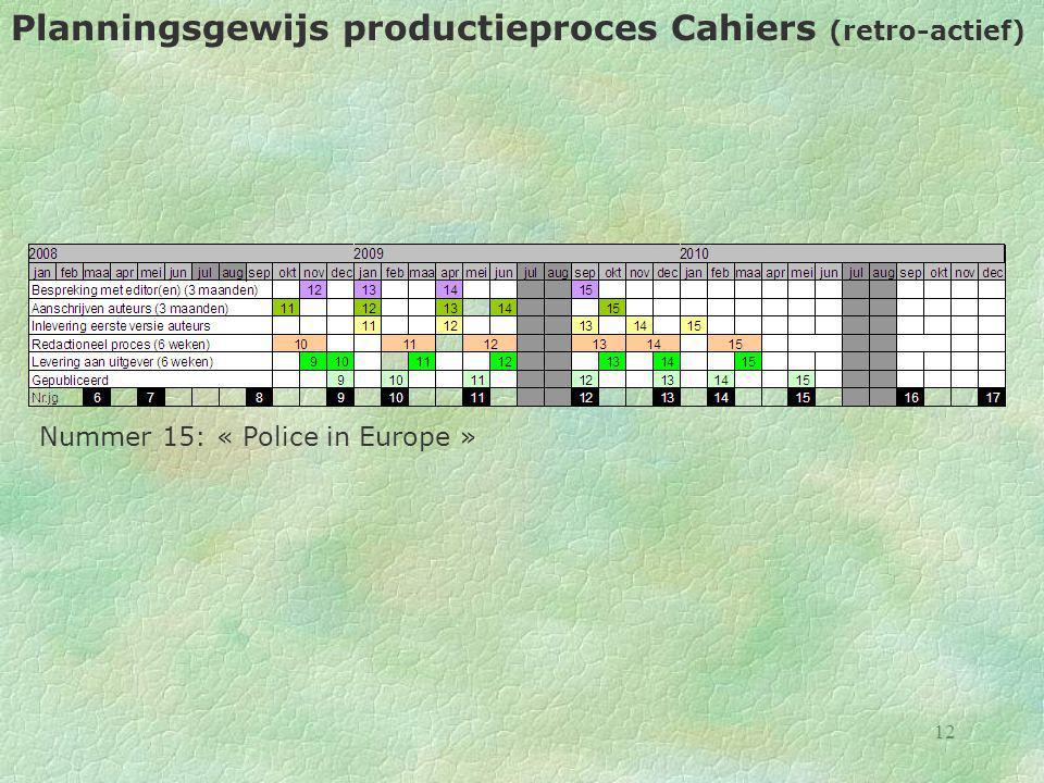 12 Planningsgewijs productieproces Cahiers (retro-actief) Nummer 15: « Police in Europe »