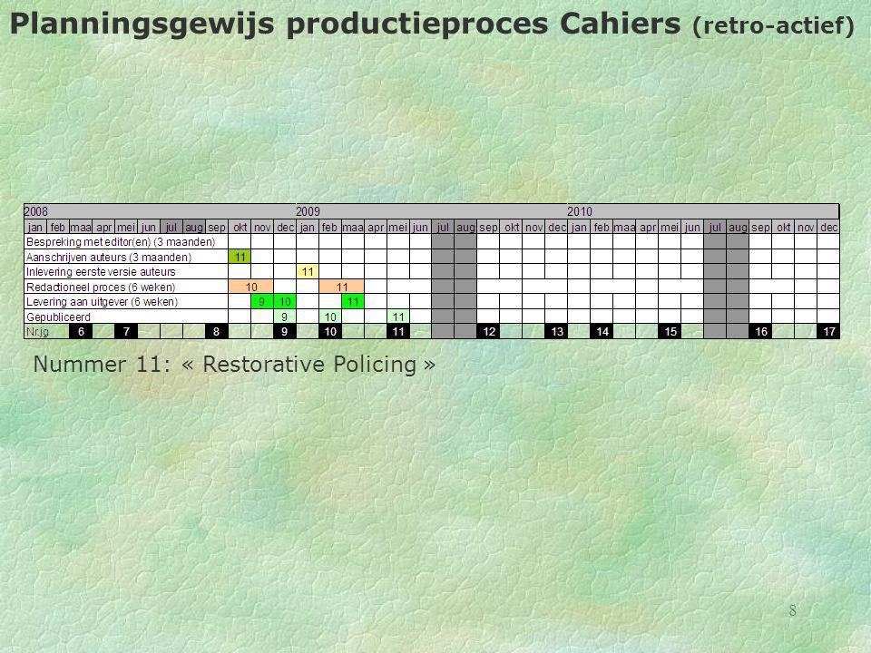 9 Planningsgewijs productieproces Cahiers (retro-actief) Nummer 12: « De relatie politie – parket – onderzoeksrechter - zetel »