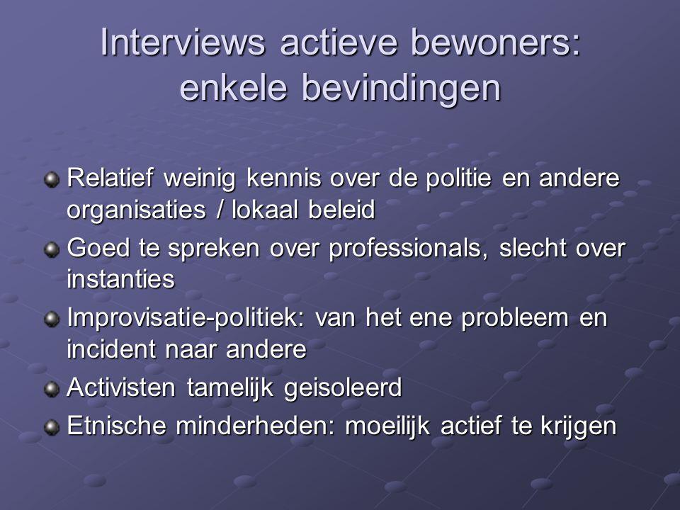 Interviews actieve bewoners: enkele bevindingen Relatief weinig kennis over de politie en andere organisaties / lokaal beleid Goed te spreken over pro