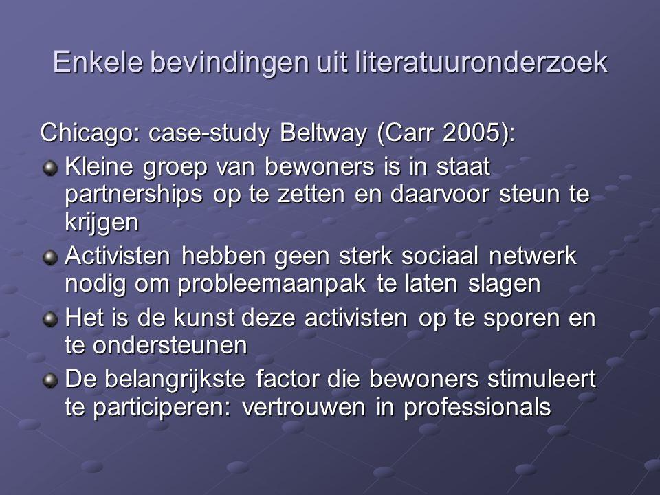 Enkele bevindingen uit literatuuronderzoek Chicago: case-study Beltway (Carr 2005): Kleine groep van bewoners is in staat partnerships op te zetten en