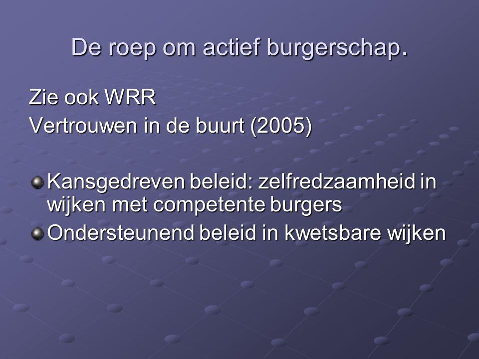 De roep om actief burgerschap. Zie ook WRR Vertrouwen in de buurt (2005) Kansgedreven beleid: zelfredzaamheid in wijken met competente burgers Onderst