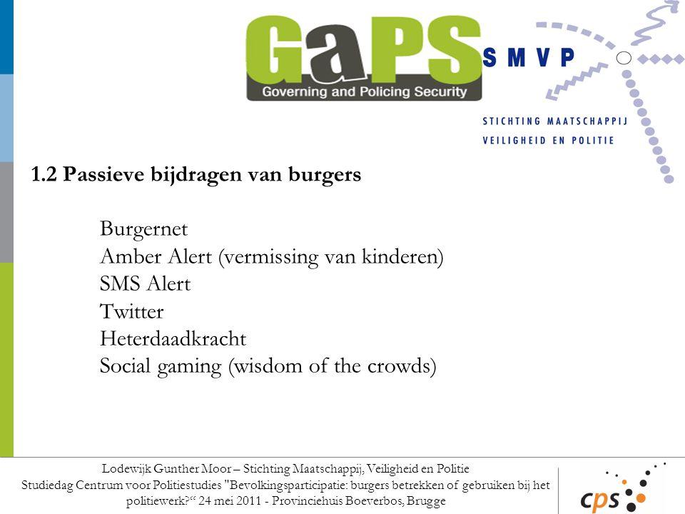 1.2 Passieve bijdragen van burgers Burgernet Amber Alert (vermissing van kinderen) SMS Alert Twitter Heterdaadkracht Social gaming (wisdom of the crow