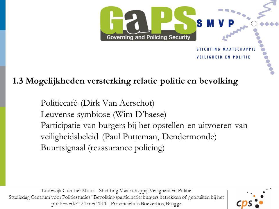 1.3 Mogelijkheden versterking relatie politie en bevolking Politiecafé (Dirk Van Aerschot) Leuvense symbiose (Wim D'haese) Participatie van burgers bi