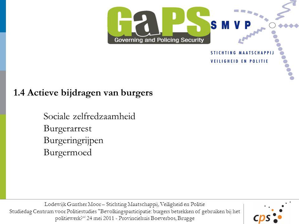 1.4 Actieve bijdragen van burgers Sociale zelfredzaamheid Burgerarrest Burgeringrijpen Burgermoed Lodewijk Gunther Moor – Stichting Maatschappij, Veil