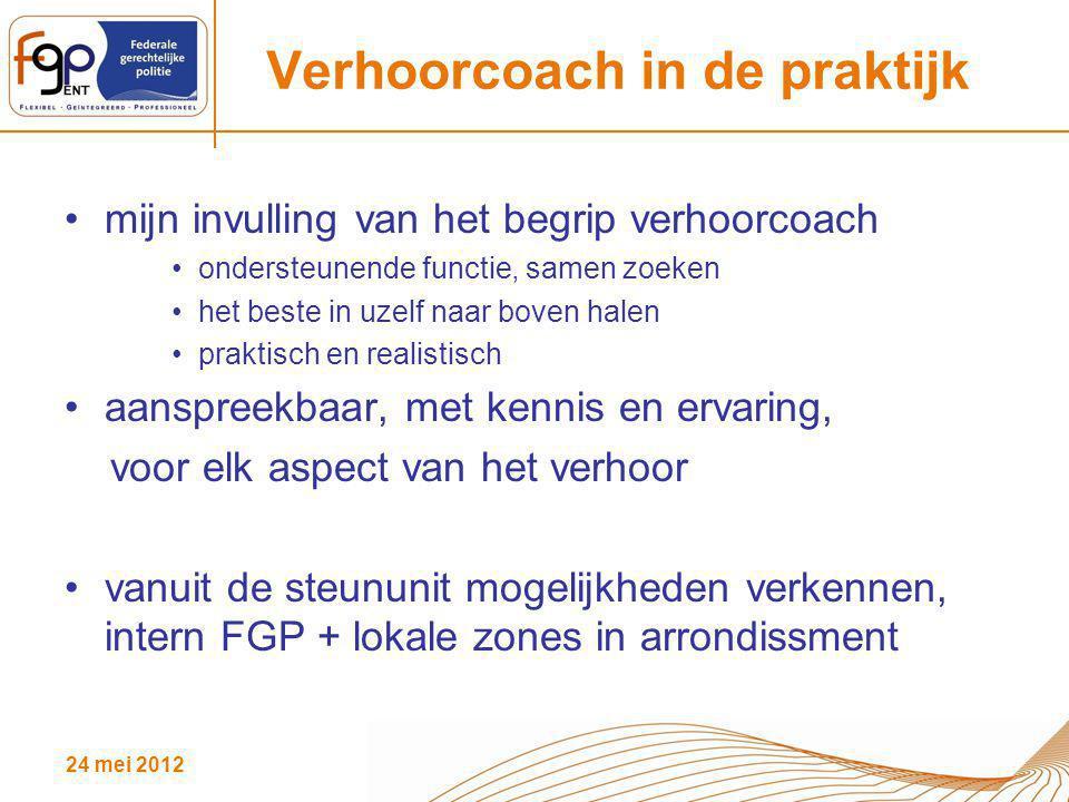 24 mei 2012 Verhoorcoach in de praktijk mijn invulling van het begrip verhoorcoach ondersteunende functie, samen zoeken het beste in uzelf naar boven