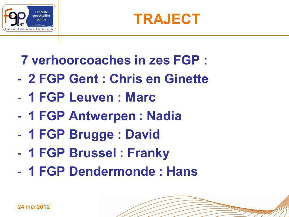 24 mei 2012 TRAJECT 7 verhoorcoaches in zes FGP : -2 FGP Gent : Chris en Ginette -1 FGP Leuven : Marc -1 FGP Antwerpen : Nadia -1 FGP Brugge : David -