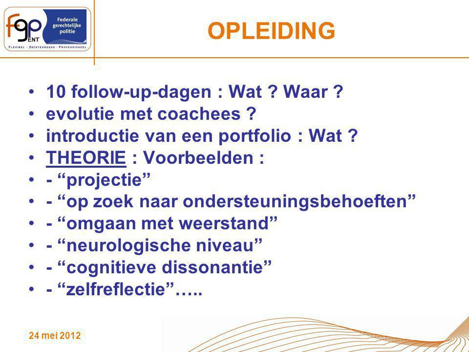 """24 mei 2012 OPLEIDING 10 follow-up-dagen : Wat ? Waar ? evolutie met coachees ? introductie van een portfolio : Wat ? THEORIE : Voorbeelden : - """"proje"""