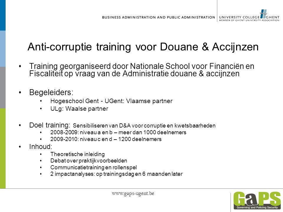 Anti-corruptie training voor Douane & Accijnzen Training georganiseerd door Nationale School voor Financiën en Fiscaliteit op vraag van de Administrat
